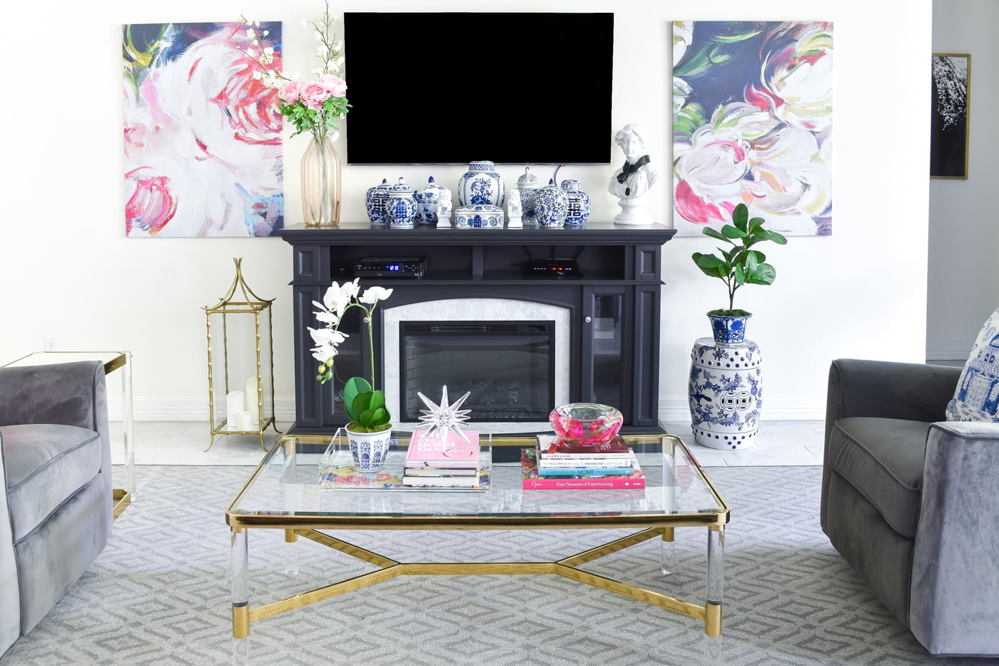 Pink, blue and white living room decor for summer