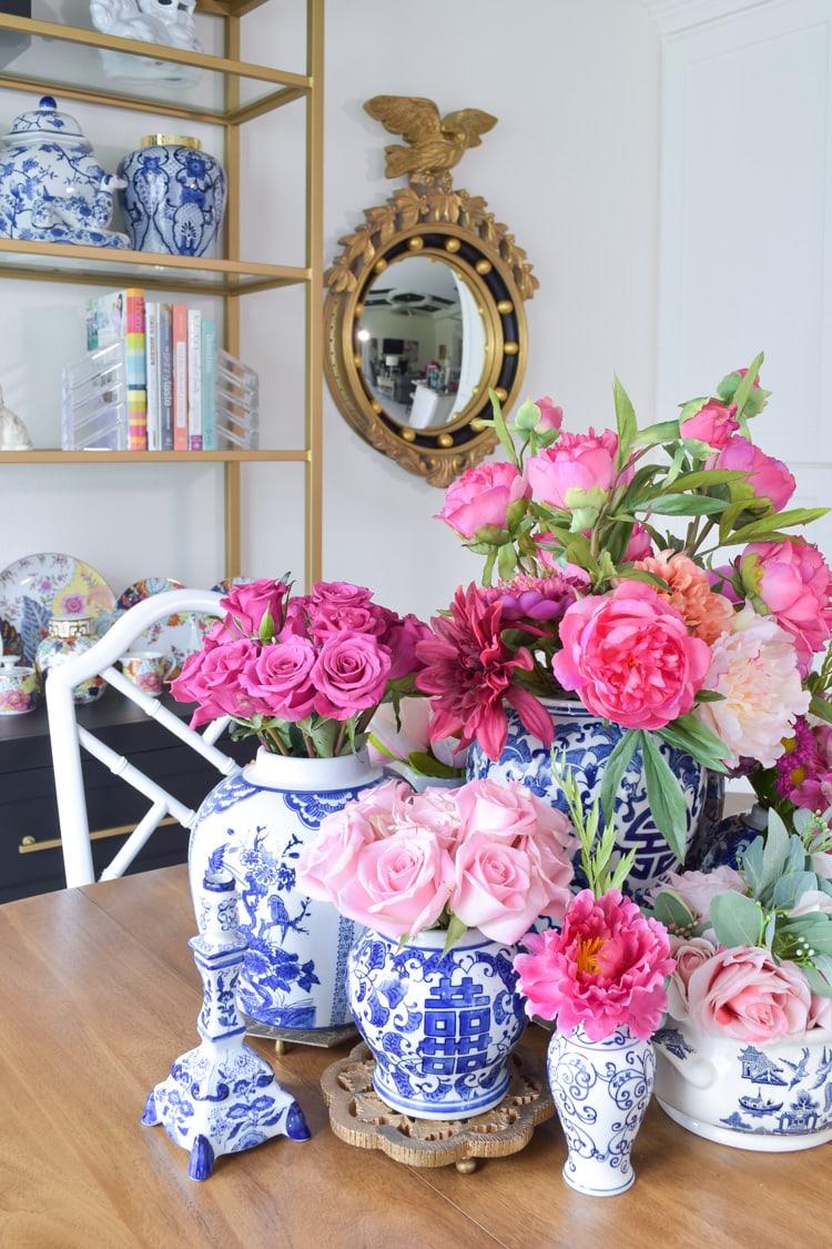 Ginger jar blue and white and pink floral arrangements