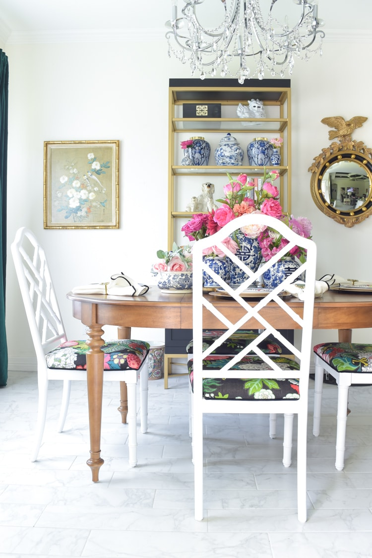 Chinoiserie dining chairs and blue and white ginger jar collection