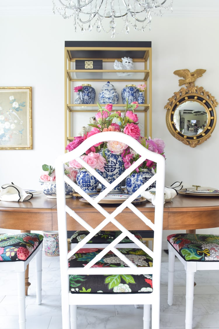 Chinoiserie dining chairs with chiang mai fabric