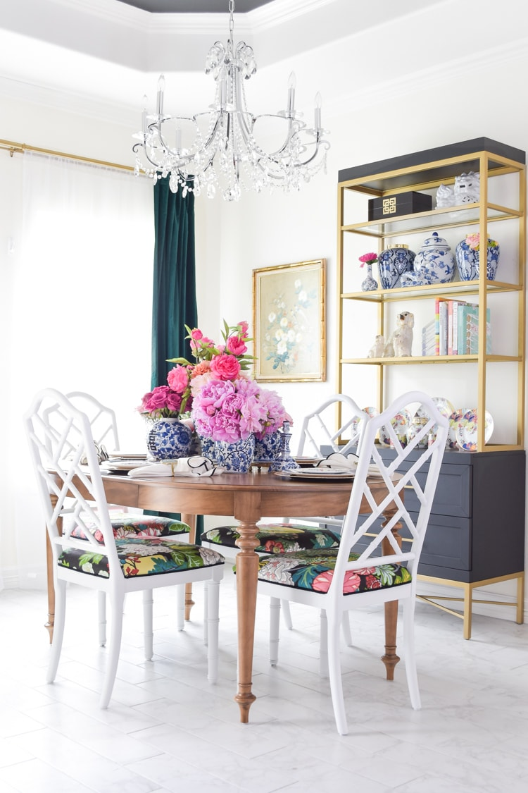 chinoiserie dining chairs and blue and white decor
