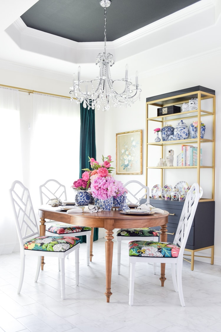 Chinoiserie dining room chairs and black tray ceiling