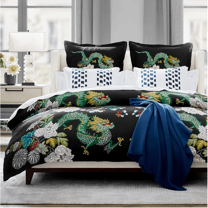 Chiang mai dragon duvet cover and shams