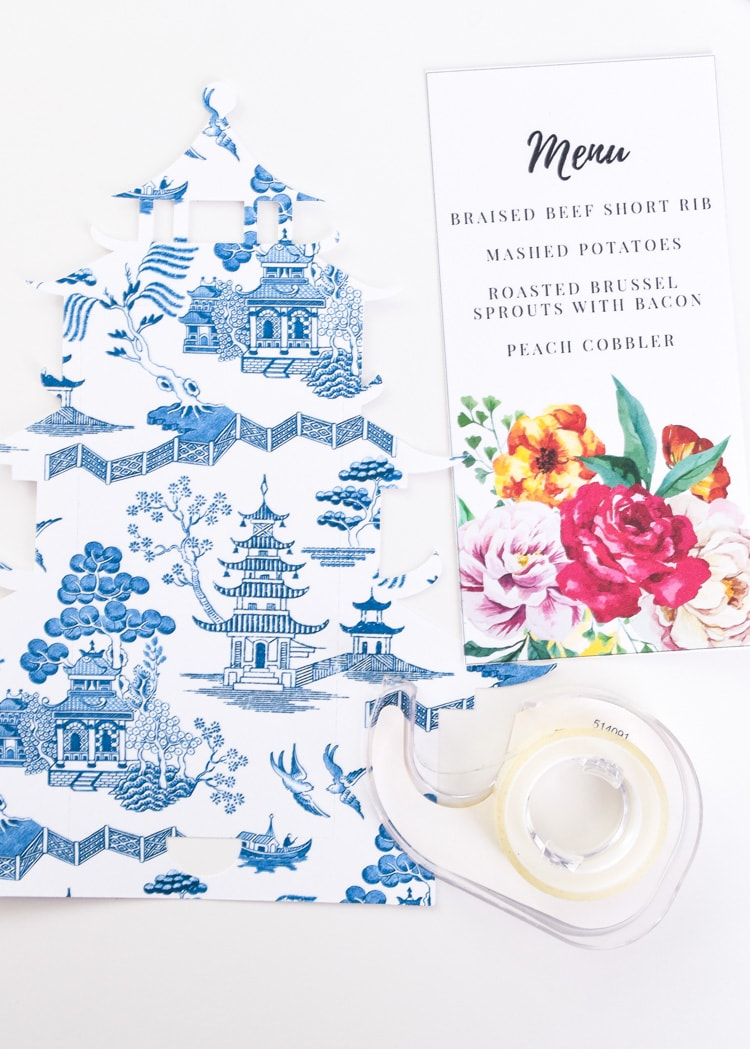 Cricut Maker perforation blade tutorial for a chioiserie pagoda menu