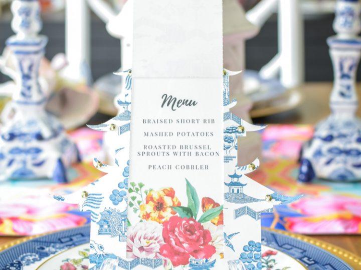 DIY chinoiserie pagoda menu card using Cricut Maker