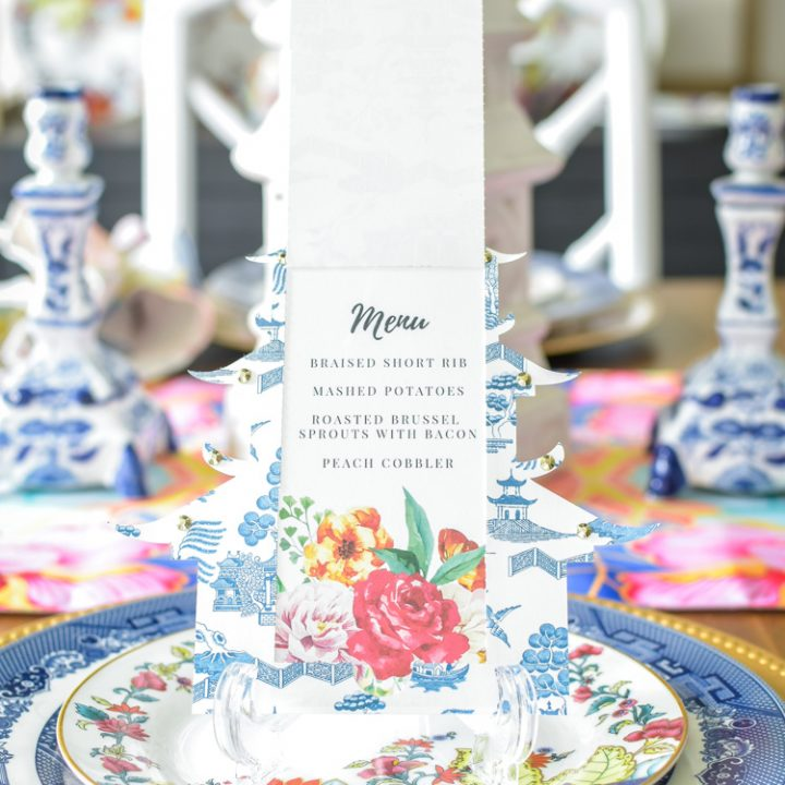 DIY chinoiserie pagoda menu card using Cricut Maker