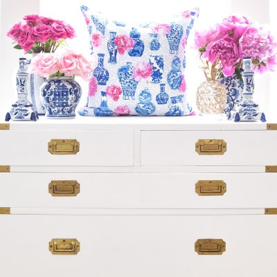 Monica Benavidez Home Ginger Jars & Peonies Blue and White China Pillow Cover