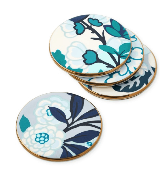 Blue, white and gold Schumacher coasters for chinoiserie decor at Williams Sonoma Home