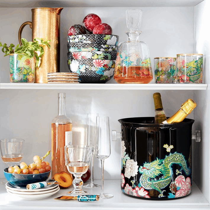Chiang Mai dragon barware at Williams Sonoma Home