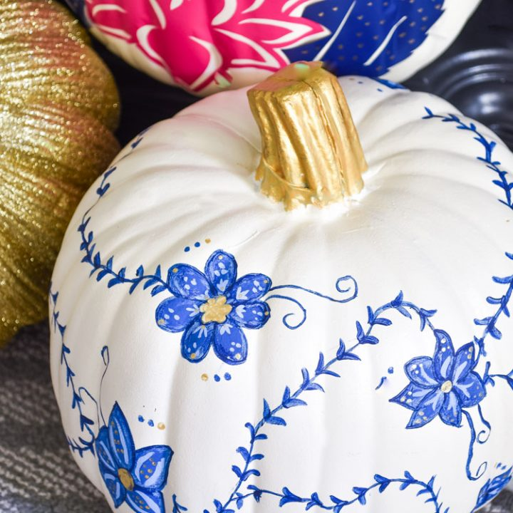 DIY blue and white chinoiserie painted pumpkins