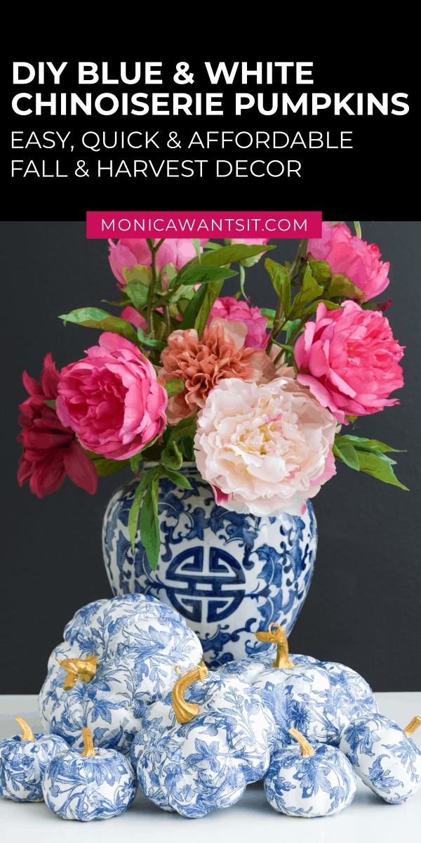 DIY chinoiserie blue and white pumpkins: fall decor for living room, dining room, tablescape, wreaths using mod podge. decoupage, crafts tutorials. #modpodge #decoupage #decoupageideas #decoupageart #falldecor #falldecorideas