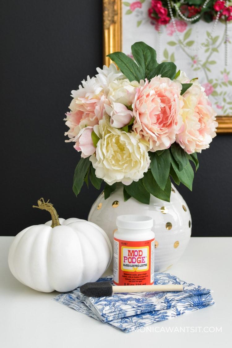 Supplies for DIY mod podge pumpkins easy craft ideas