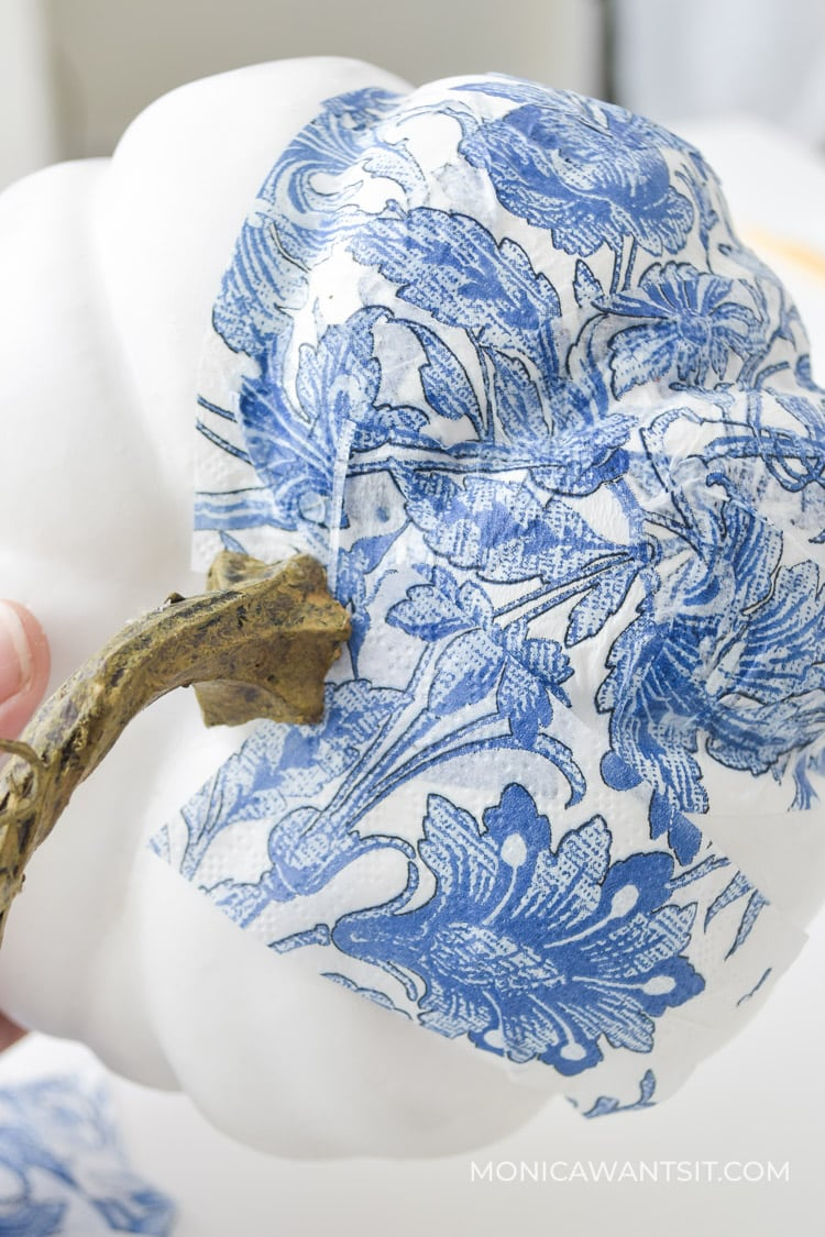 Chinoiserie blue and white napkins on white craft pumpkin for DIY mod podge decoupage easy fall crafts