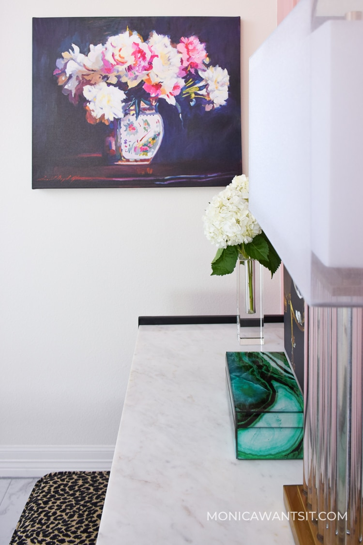 Ginger jar and peonies artwork on a canvas- chinoiserie chic