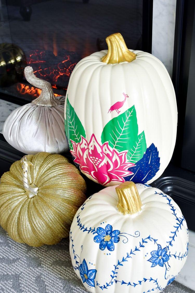 DIY tobacco leaf china pumpkin using a Cricut Maker and vinyl project idea.