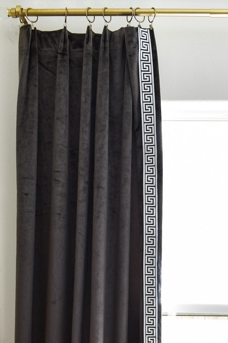DIY Greek Key Trim Curtains using Iron-On Tape