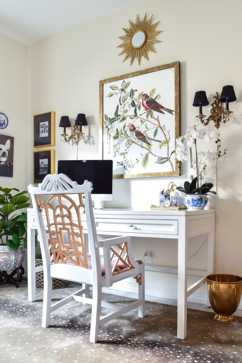 Vintage pagoda chair DIY makeover with white paint and gilding