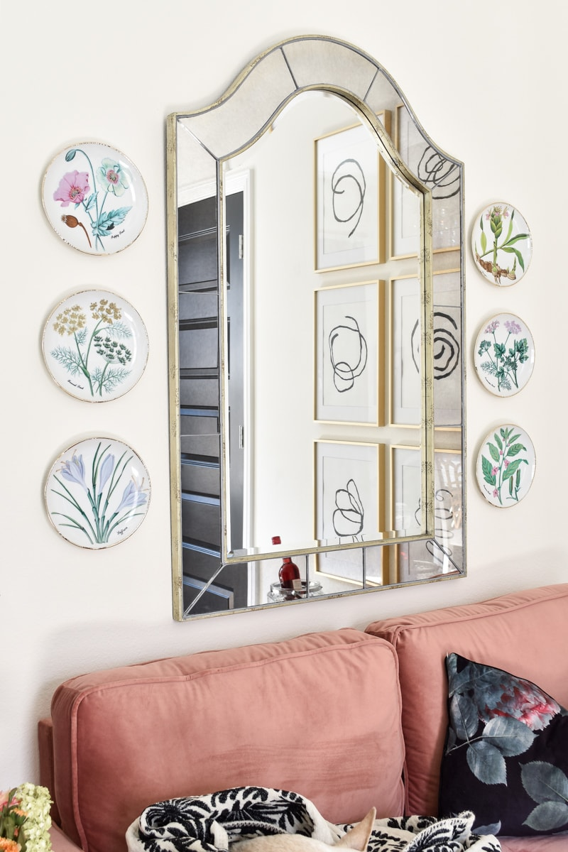 Horchow vintage floral plates used as a plate wall in a home office makeover
