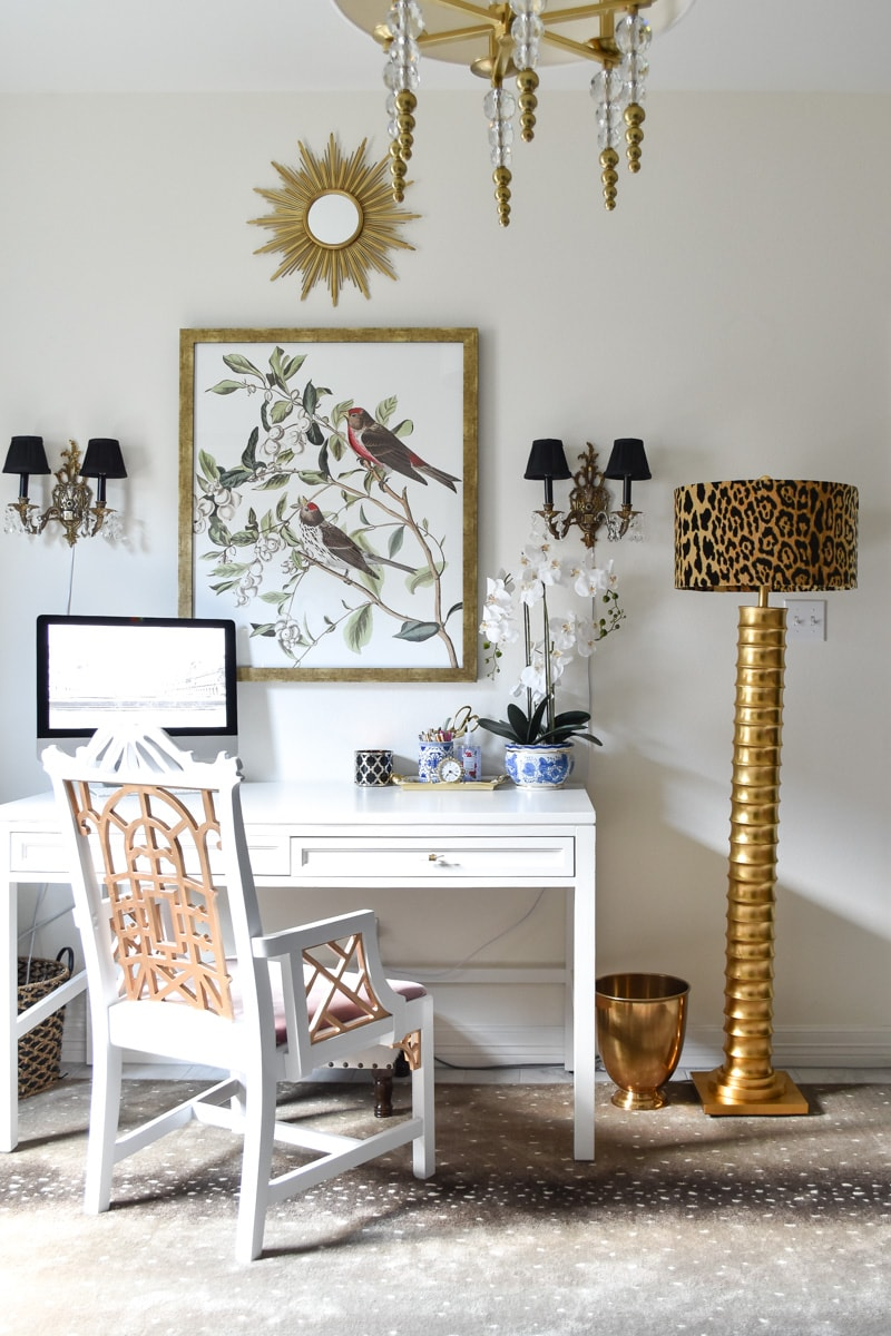 A Parisian and traditional home office makeover using thrifted items and smart DIY hacks
