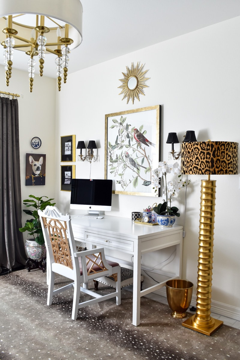 A Parisian and traditional home office makeover using thrifted items and smart DIY hacks and chinoiserie touches.