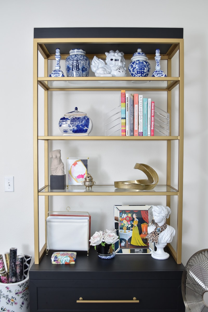 Black and gold etagere