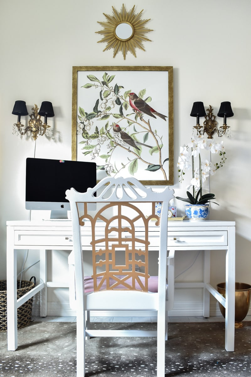 Vintage pagoda chair in a home office makeover with audobon artwork and brass sconces
