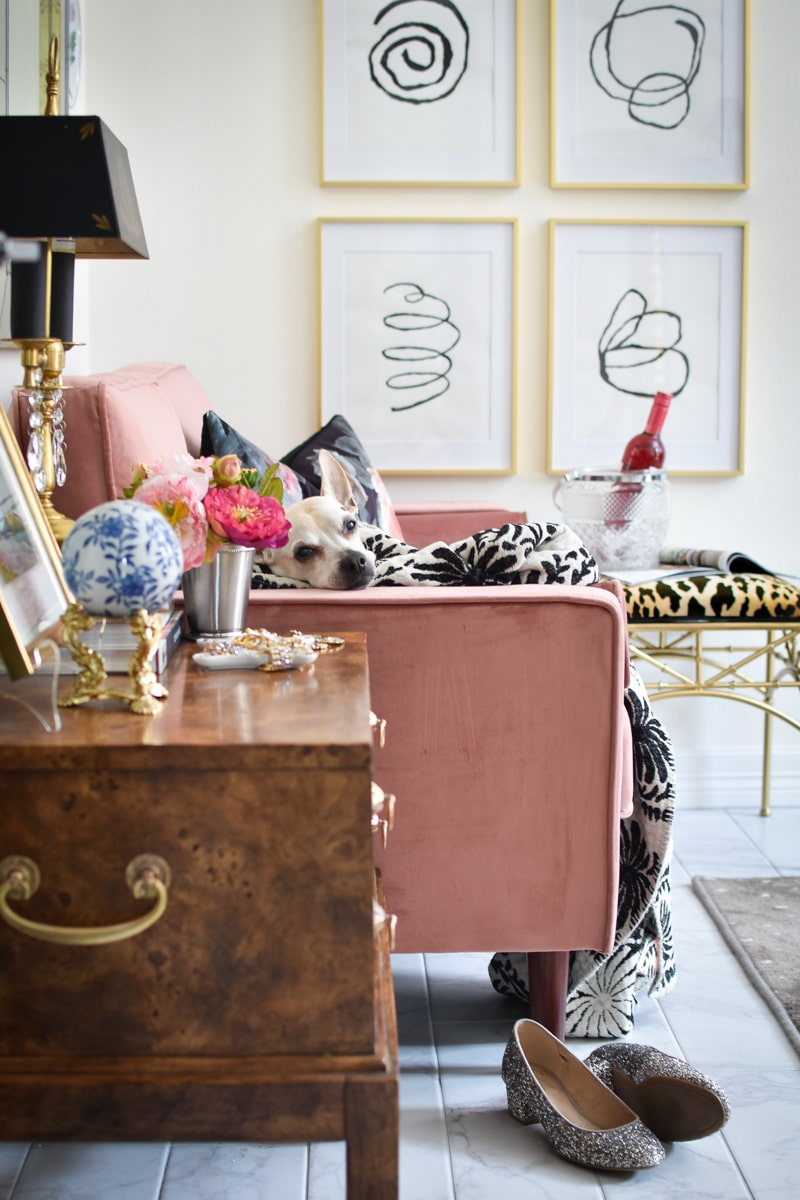 Home Office Makeover with DIY Abstract Art and pink Clovis loveseat