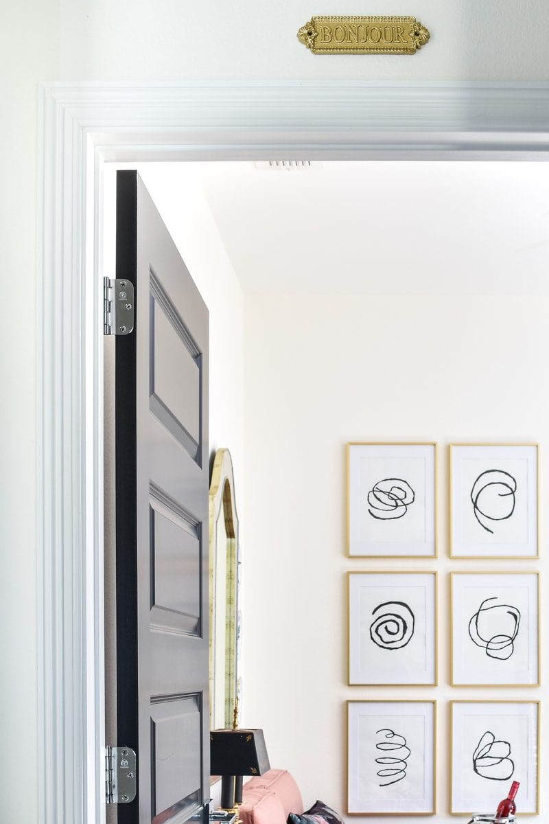 Parisian Inspired Home Office: White Alabaster Walls and Black Doors