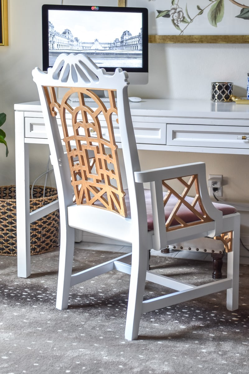 Vintage pagoda chair makeover- a chinoiserie chic home office with DIY's galore. Fretwork, chippendale.