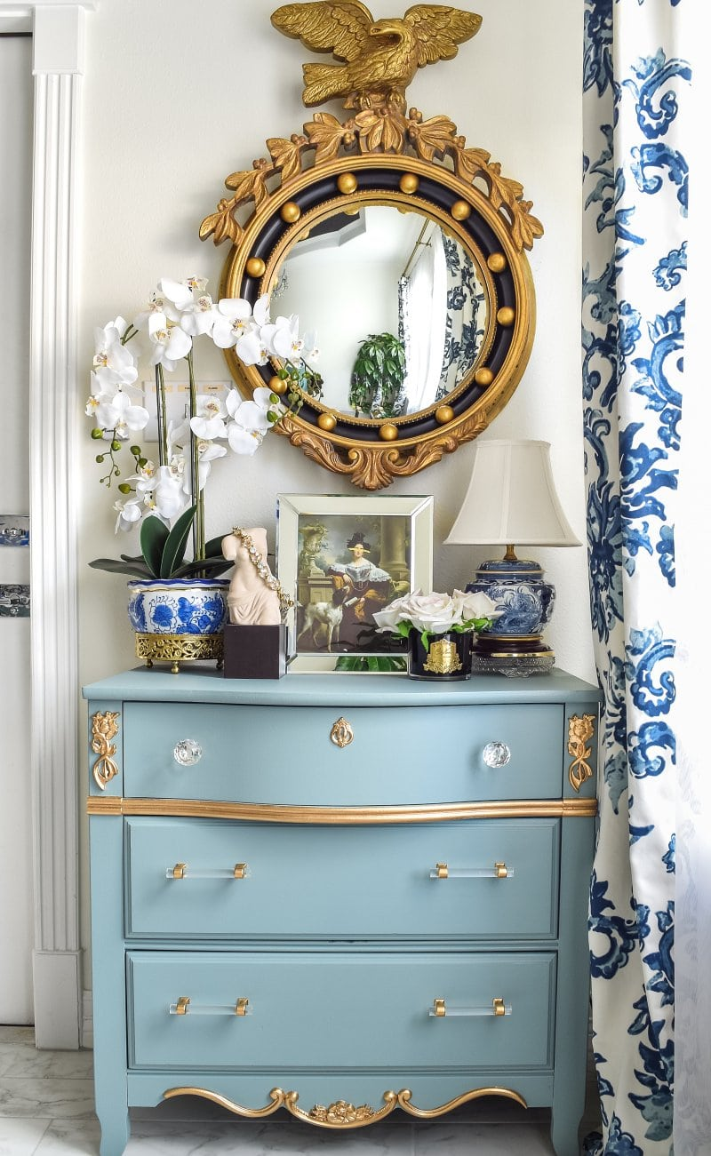 Fall Home Tour: $10 dresser makeover, Farrow and Ball Oval Room Blue