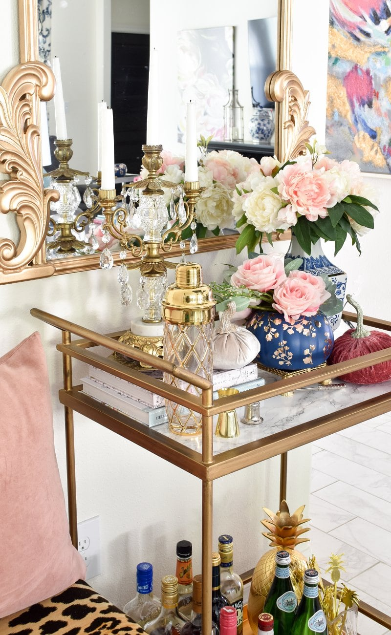 Chinoiserie chic fall home tour decor: bar cart styling ideas
