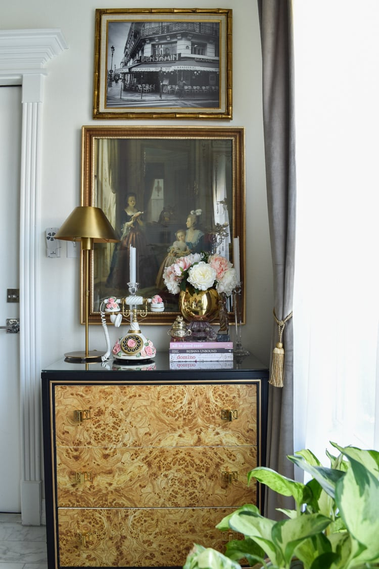 Thrifted burl wood chest with brass hardware