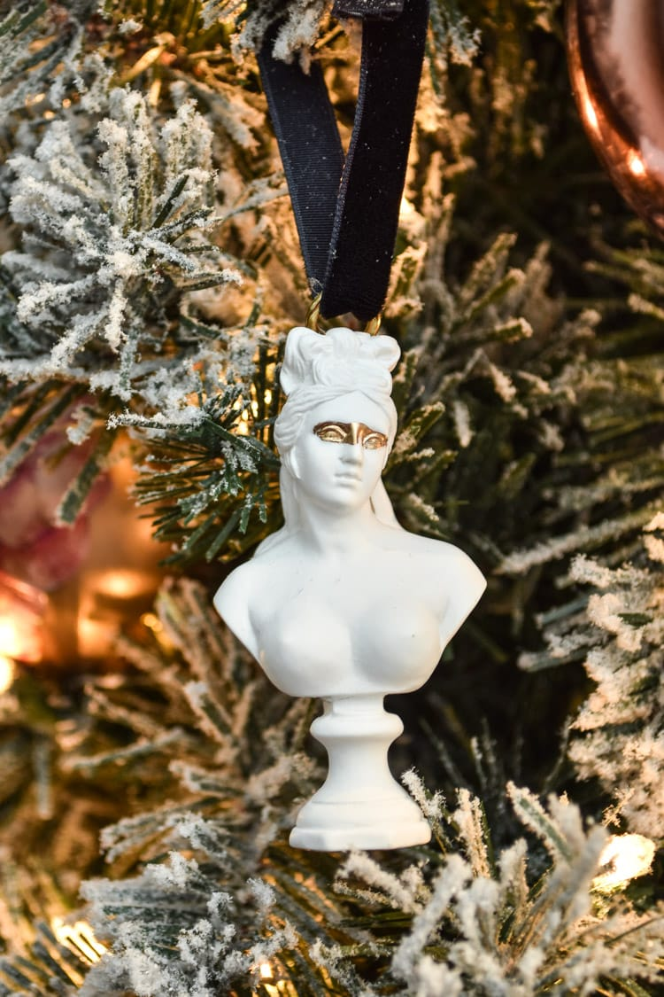 DIY Greek Christmas Ornaments Made out of mini bust statues