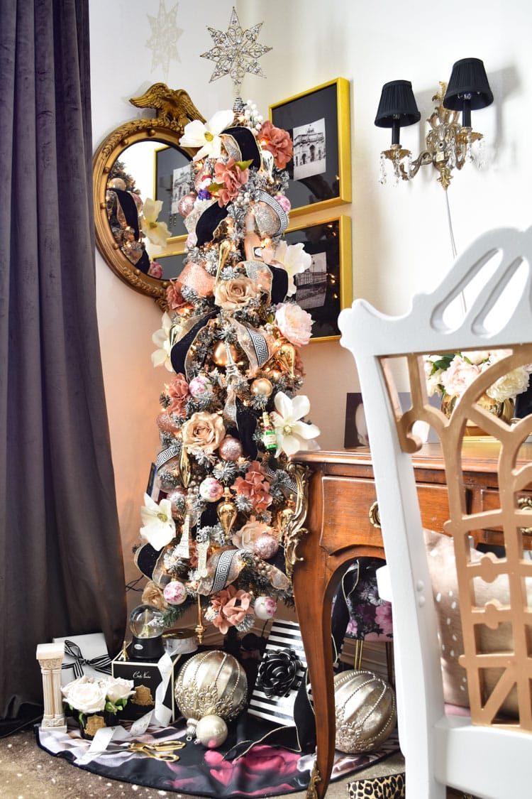 Parisian style pink, gold and floral Christmas tree