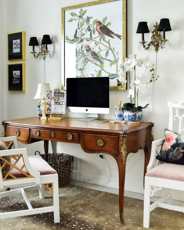 A gorgeous French antique plat desk in a home office.