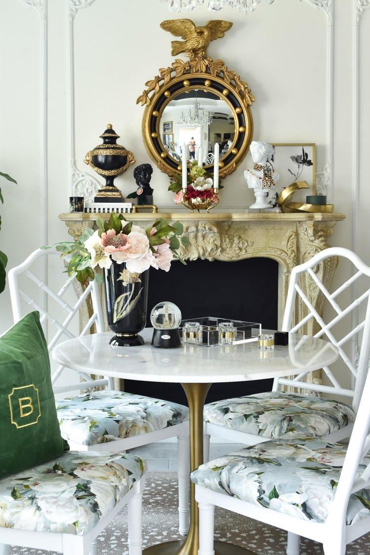 French parisian fireplace in a dining room with federal eagle mirror