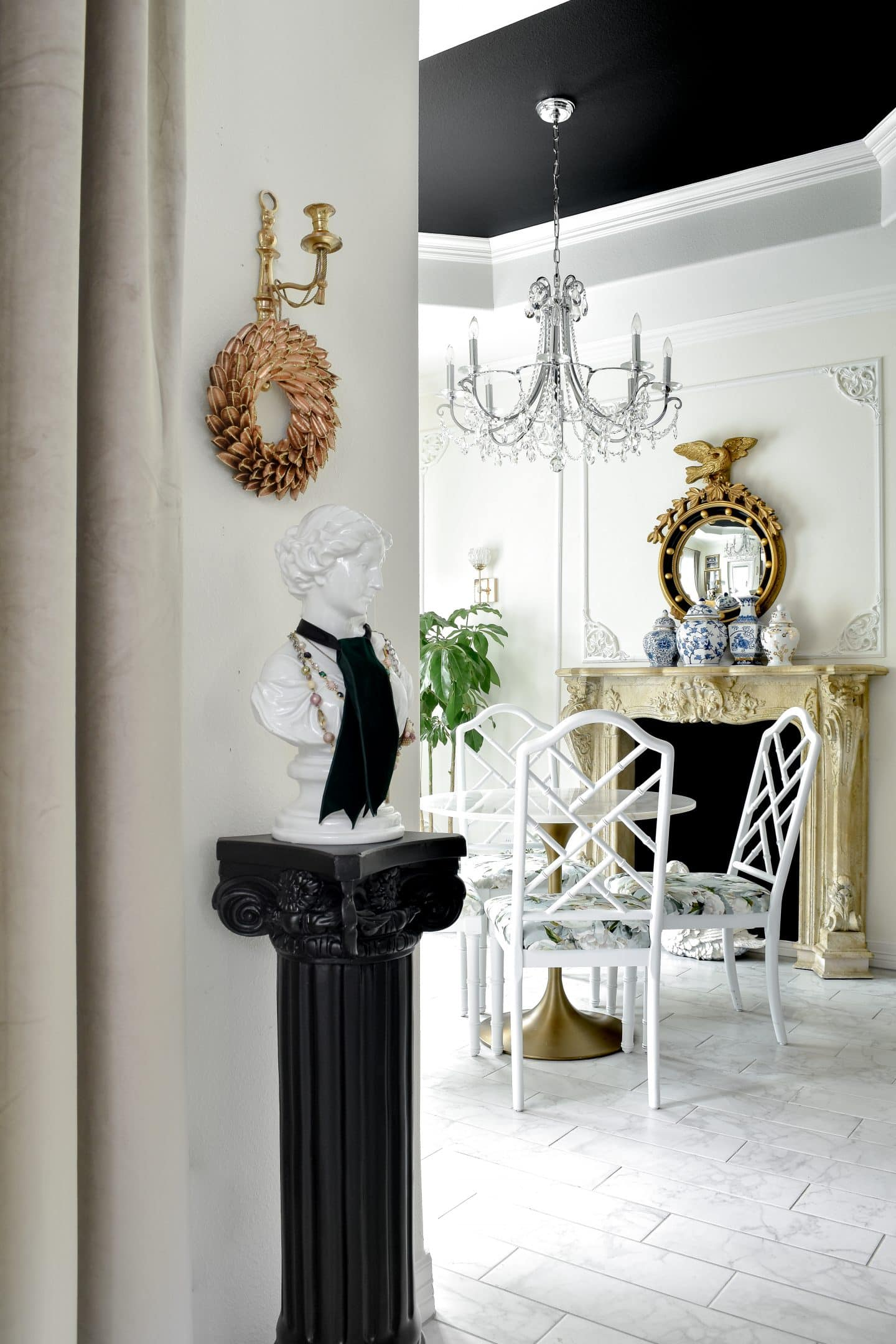 Black, white and gold parisian inspired home