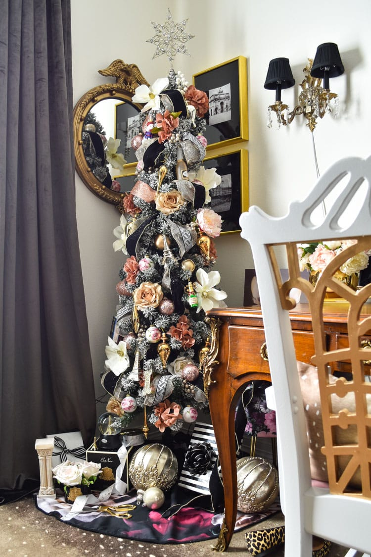 Pink and gold floral Christmas tree with black velvet ribbon